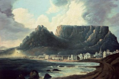 Cape Town and Table Mountain in 1772. Oil on canvas by the English painter, William Hodges (1744–1797), the official artist on the second voyage of Captain James Cook. Iziko William Fehr Collection; accession no. CD 21