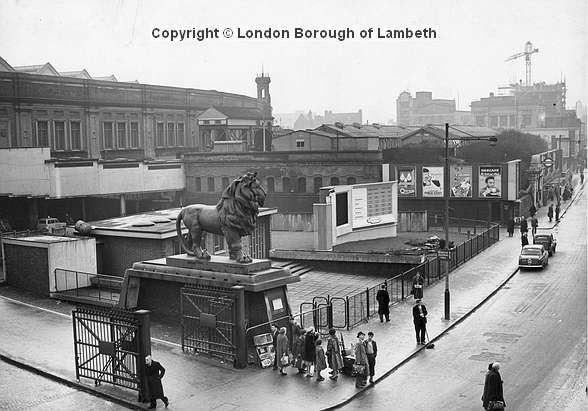 One of the pair of Red Lion Brewery lions which ws moved to Waterloo Station before ending up at the end of Westminster Bridge where it can still be seen. Its partner is painted gold & stands at Twickenham Stadium. http://landmark.lambeth.gov.uk/display_page.asp?section=landmark&id=1468