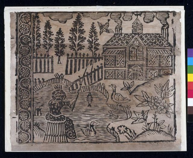 This paper is one of several block-printed sheets with pictorial patterns, which were made in the late 17th century and were designed to imitate tapestries or printed cloth wallhangings. V&A