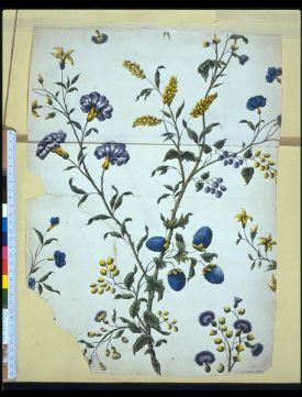 Design for a printed textile or wallpaper; Flowers and foliage with yellow and blue berries, on a pale ground; Watercolour and pencil on paper. Within an album (E.4486-4542-1920) containing drawings of flowers, foliage, details of ornament, proofs etc, used by the artist as working material for his wallpaper designs: Pen and ink, pencil and watercolour: 52 sheets, together with an engraved title-page by Jackson, an engraving by Bonneau, and 3 anonymous engravings of plant forms; several signed J:B:J., inscribed with notes and dated from 1740 to 1753; the title-page dated 1738. V&A