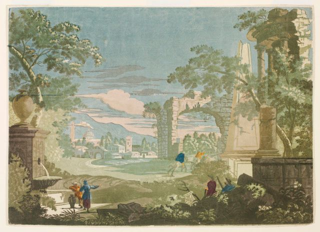 Panel of wallpaper with an heroic landscape with watering place, riders and obelisk; Chiaroscuro wood engraving print, on paper. John Baptist Jackson 1744 V&A