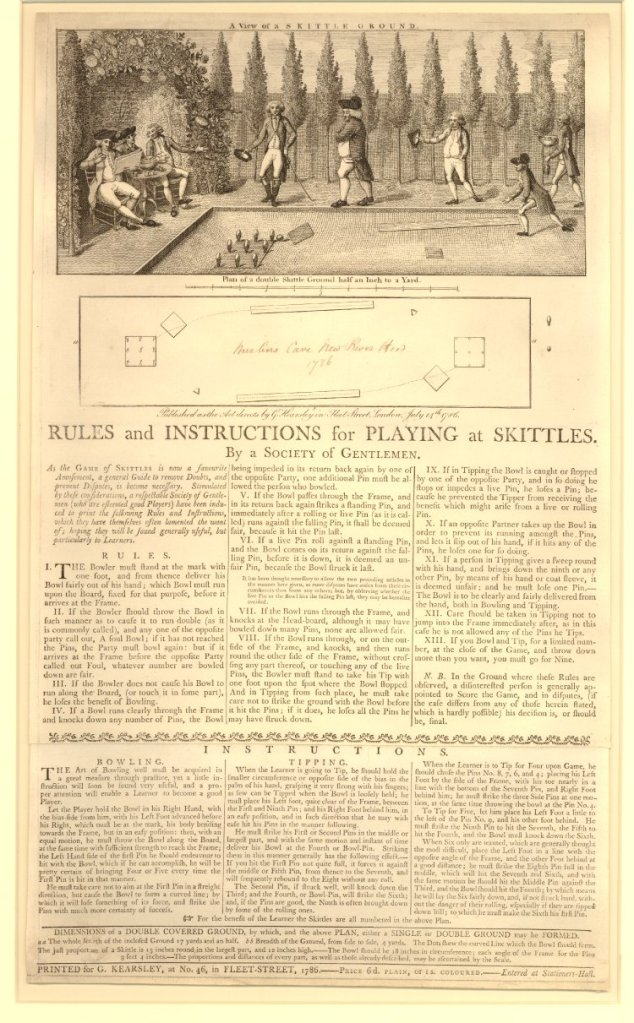 Rules and instructions for playing at skittles. By a Society of Gentlemen, 1786 http://www.britishmuseum.org/research/collection_online/collection_object_details.aspx?assetId=479132001&objectId=1480031&partId=1