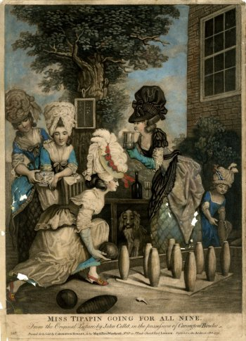 Miss Tipapin going for all nine, 1779'From the Original Picture by John Collet, in the possession of Carington Bowles. British Museum