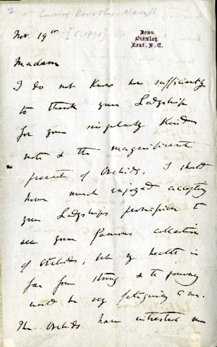 Letter from Darwin to Dorothy thaking her for a gift of orchids. https://digital.case.edu/concern/texts/ksl:ditalldar00219
