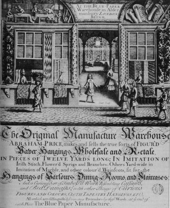 Trade Card for Abraham Price's Blue paper Warehouse. c.1715 Bodleian Library