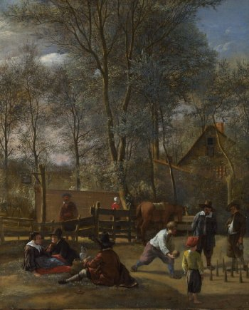 Skittle Players outside an Inn, probably 1660-3, Jan Steen. National Gallery