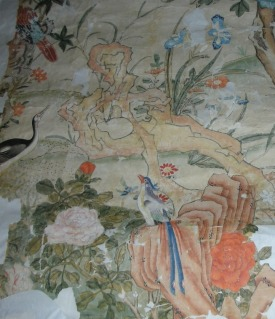 Part of a fragment of Chinese wallpaper from the Little Parlour at Uppark, inv. no. 138490. ©National Trust/Sarah Foster