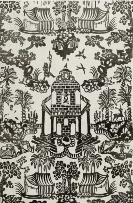Wallpaper showing orinetal influences, early 18thc from Hurlstone manor, Northants. V&A