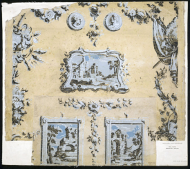 Landscapes in a 'print room' style wallpaper, from Doddington Hall, Lincs c.1760 V&S