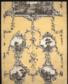Portion of wallpaper with a design of landscape vignettes, in foliated scroll borders imitating stucco work, on a yellow ground; Chiaroscuro colour woodblock print, on paper; from a house in Bourton-on-the-Water, c.1769 V&A