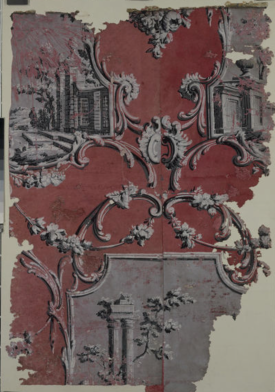 Fragment of wallpaper with a design of panels, framed in foliated scroll work, containing architectural pastiches. Wallbridge, c.1770 V&A