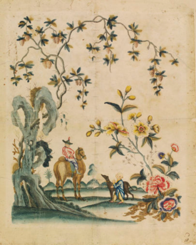 Portion of wallpaper or lining paper with a design featuring a man on a camel talking to a boy with a greyhound on a leash, in the Chinese style;