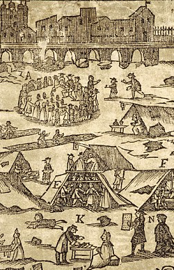 detail of a woodcut by Mary Malkinson, printed on the frozen Thames in 1716