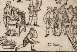 detail from a print of the first known Frost fair, Thomas Dekker, 1608- Houghton Library at Harvard University