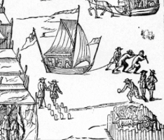 detail from Great Britain's Wonder, a print of the 1683/4 Frost Fair