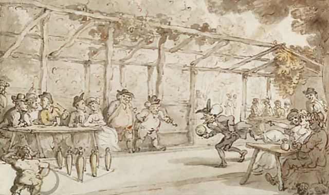 Dr. Syntax playing a game of ninepins, Thomas Rowlandson
