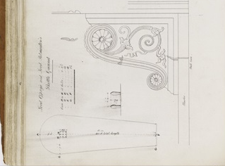 Design for Lord Ossory and Lord Palmerston's skittle ground: plan and details of skittles; with details of a frieze and bracket by Henry Holland c1800 RIBApix