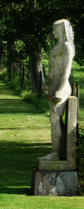 One of a pair of life-sized Egyptian figures, amrked Coade and Sealy, 1800 at Buscot Park © Copyright Chris Gunns and licensed for reuse under this Creative Commons Licence