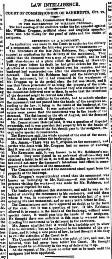Bankruptcy Court report from the Morning Advertiser - Wednesday 23 October 1833
