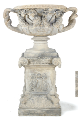 A Victorian terracota model of the Warwick Vase and its plinth, by Mark Blanchard, c.1860 Sold for £8125 at Christies in 2008