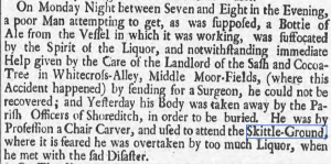 Report of a death by misadventure [and drunkeness] Thu 22 Sep 1737 ,  Derby Mercury