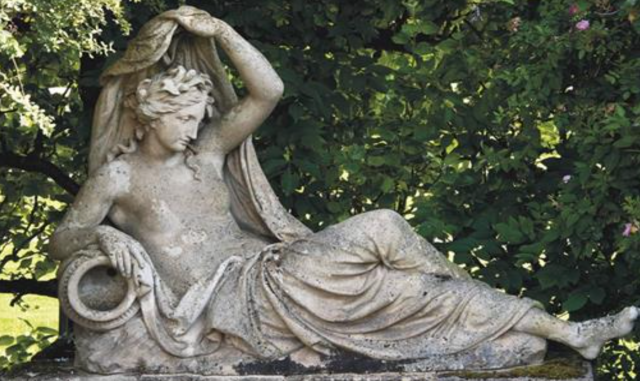 A Coade Stone Naiad from a design by John Bacon, but dated 1844 so possibly made a mould purchased by Blanchard at the 1843 sale. Dunsborough Park salehttps://www.the-saleroom.com/en-gb/auction-catalogues/christies-south-kensington/catalogue-id-srchristi10178/lot-32a37cdc-3c07-4dd2-ae81-a44701338f6b