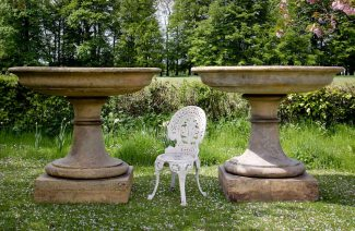 a pair of very large terracotta tazza urns or fountain basins on square bases by J M Blashfield, c.1865 http://www.jardinique.co.uk/garden_antiques/Stock%20Pages/planter_blashfield_large_pair.htm