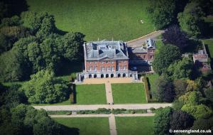 aerial photograph of Wolterton Halll Norfolk England UK. Designed by Thomas Ripley and built in 1742