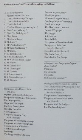 A list of the pictures rcorded on Jane's inventory, 1659 taken from Karen Hearn, Nathanile Bacon, p.32