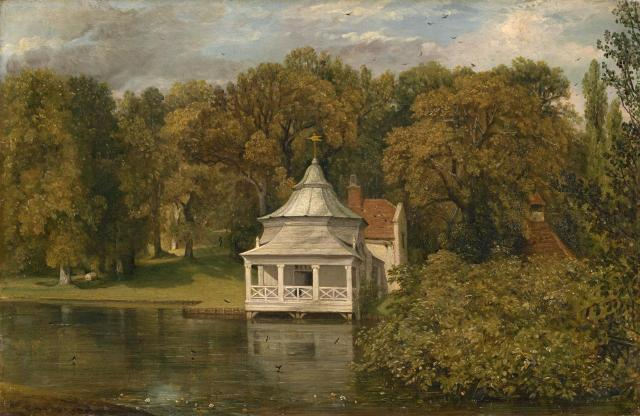 The Chinese style fishing lodge at The Quarters, Alresford Park. Painting by John Constable, c.1816 Now in the National Gallery of Victoria, http://www.ngv.vic.gov.au/essay/the-heroine-of-all-these-scenes-john-constable-and-the-rebow-family-in-1816-2/