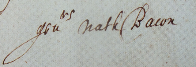 Bacon's signature from Essex Record Office D/DByC15, fol..116