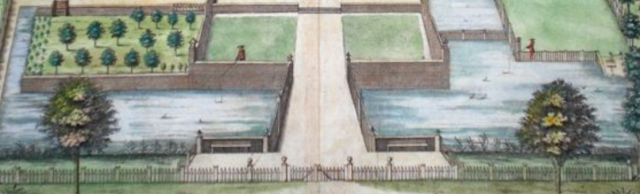 Tiny detail from Bedwell Parke, by Jan Drapentier in Henry Chauncy's Historical Antiquities of Hertfordshire, 1700