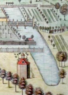detail from 'Pisho Bury' by Jan Drapentier in Henry Chauncy's Historical Antiquities of Hertfordshire, 1700 'http://www.furneuxantiquemaps.com