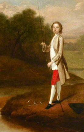 Portrait of an Unknown Boy Fishing, Possibly Christopher Lethieullier, Arthur Devis, 1749, National Trust [hanging at Uppark]