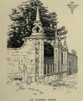 The forecourt gates at Canons Ashby from Manor Houses