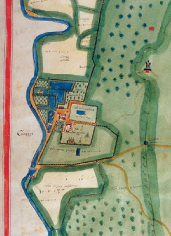 Detail from the Chatsworth Estate mpa, 1617 by William Senior from The Archaeology of a Great Estate: Catsworth & Beyond, by Nicola Bannister & John Barnatt, 2009