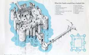 Bodiam Castle plan showing the complex approach. National Trust