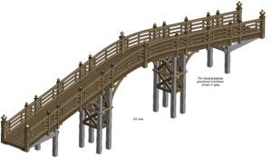 A model of the replacement bridge http://www.greenoakcarpentry.co.uk/news/croome-chinese-bridge/