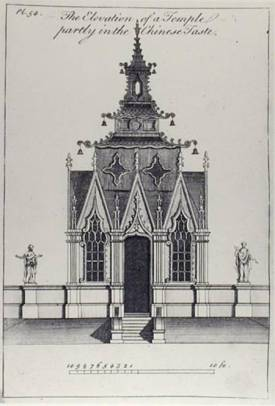 The Elevation of a temple partly in the Chinese Taste, from 'New Designs for Chinese Temples', published 1750-52 (engraving) (b/w photo) by Halfpenny, William (fl.c.1722-d.1755) (after) engraving Private Collection The Stapleton Collection English, out of copyright