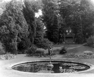 The mercury pond in the garden at Westonbirt. Pub Orig CL 25/03/1905