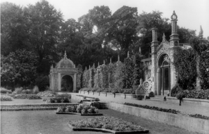 The south terrace of the Italian garden at Westonbirt, with Neo-Jacobean and Moorish gazebos designed by Henry Hamlen in 1843. Pub Orig CL 25/03/1905
