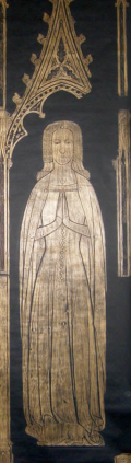 The memorial brass for Elizabeth, Lady Dallingridge in Fletching parish church, from http://www.historyinbrass.co.uk/visiting/medieval.html