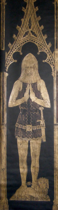 The memorial brass for Sir Edward Dallingridge in Fletching parish church, from http://www.historyinbrass.co.uk/visiting/medieval.html