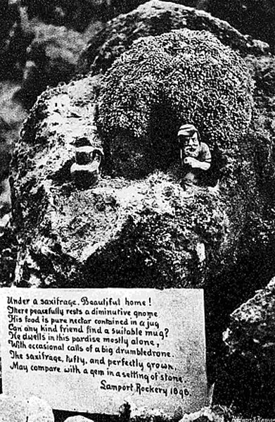Garden gnomes in the rockery at Lamport Hall in 1898 Date1898 Source Country Life Illustrated (London) December 24, 1898