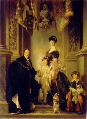 Charles, 9th Duke of Marlborough, with Consuelo, Duchess of Marlborough, and their sons John, the 10th Duke of Marlborough, and Lord Ivor Spencer-Churchill Date1905, Blenheim Palace