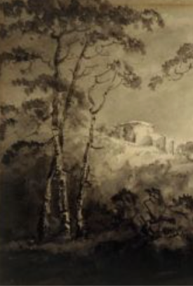 detail fromWilliam Sawrey Gilpin (English, 1762–1843) Trees and Castle, ca. 1790–1810.https://www.indiana.edu/~iuam/provenance/view.php?id=650