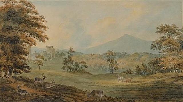 Deer grazing near Downton Castle, Herefordshire