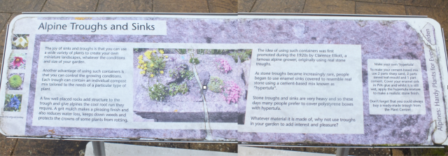 Information board in the Alpine Garden at Wisley, Januray 2016
