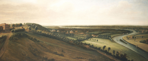 View From The Side Of The Richmond Hill Towards The Earl Of Rochester's New Park. Leonard Knyff (1650-1722). Oil On Canvas.