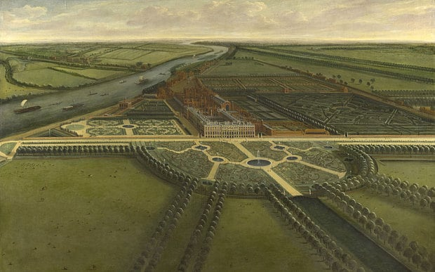 A View of Hampton Court, by Leonard Knyff, c.1703, shows the elaborate garden recently created by William III in line with the latest tastes of European royalty Photo: Courtesy of the Royal Collection Trust
